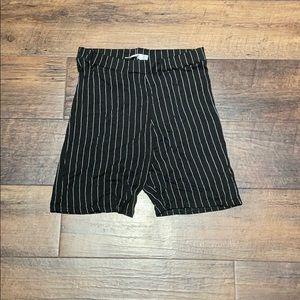 NWOT Pinstripe Biker Shorts